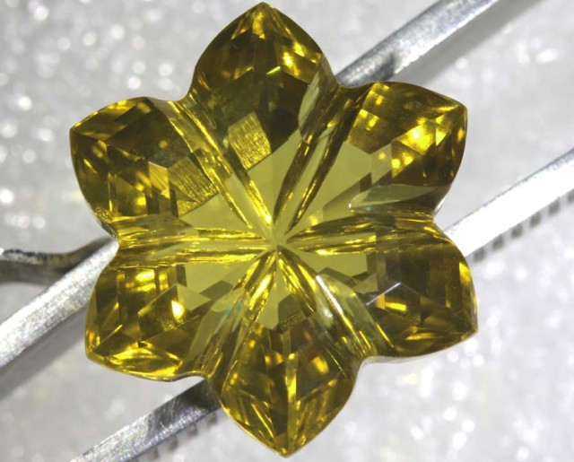 16.3CTS CITRINE CARVING FLOWER STONE LT-798