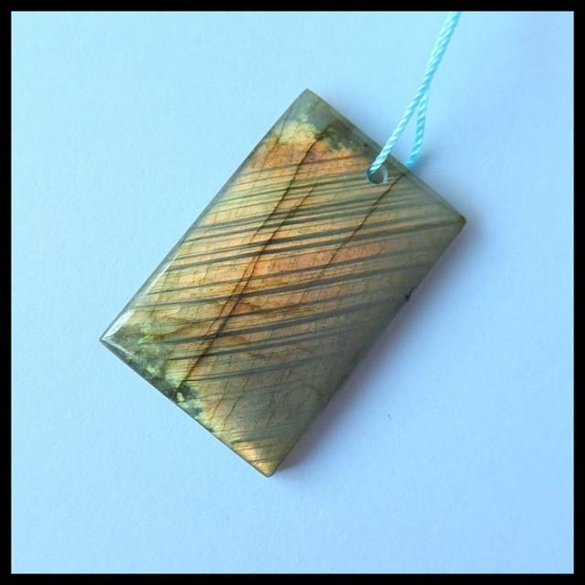 Natural Golden Flash Labradorite Pendant Bead,35x23x5mm,46ct(17042908)