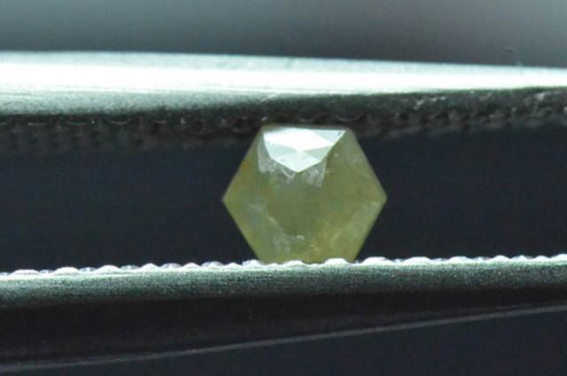 0.135ct 3.45mm Yellow Hexagon rose cut Diamond