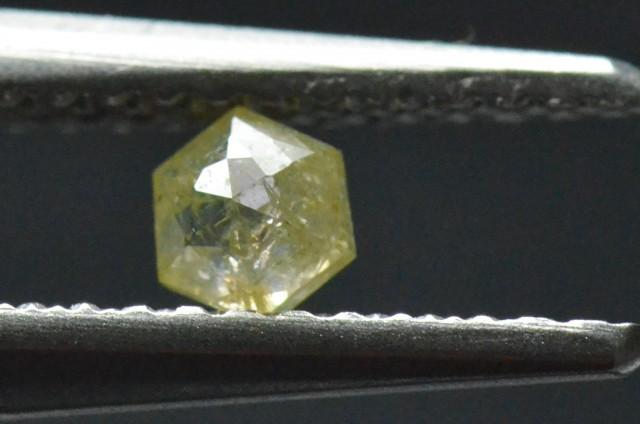 3.5mm 0.19ct Yellow Hexagon rose cut Diamond