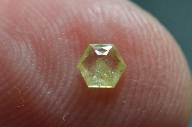 3.55mm 0.175ct Yellow Hexagon rose cut Diamond