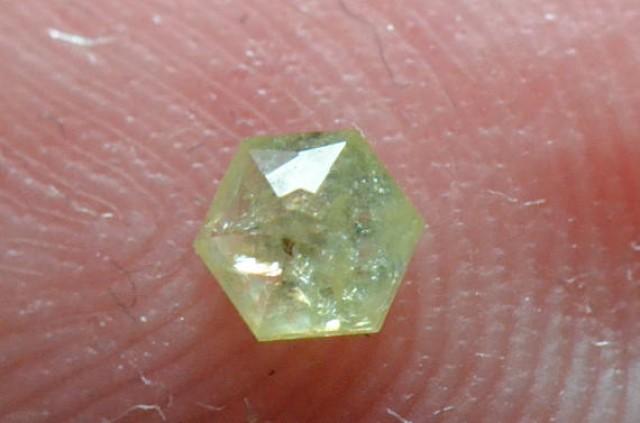 3.425mm 0.13ct Yellow Hexagon rose cut Diamond