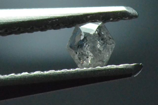 0.10ct 3.05mm Silver Grey Hexagon rose cut Diamond