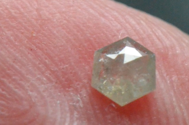 0.165ct 3.7mm Silver Grey Hexagon rose cut Diamond