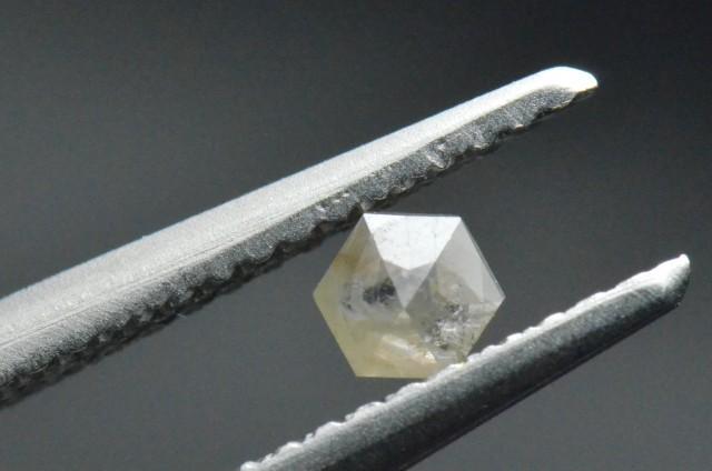 0.155ct 3.7mm Silver Grey Hexagon rose cut Diamond