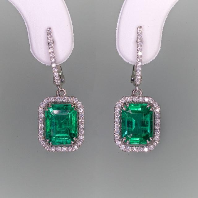 3.62tcw High End Emerald Earrings