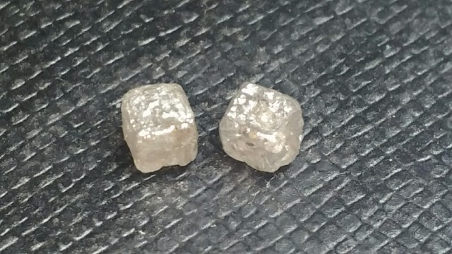 1.30ct pair 3.8mm silver grey cube diamonds 1.30ct SPECIAL OFFER