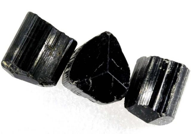 58.65CTS TOURMALINE BLACK NATURAL ROUGH PARCEL 3PCS RG-2161