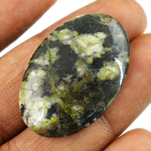 Genuine 34.20 Cts Oval Shape Forest Green Jasper Cab
