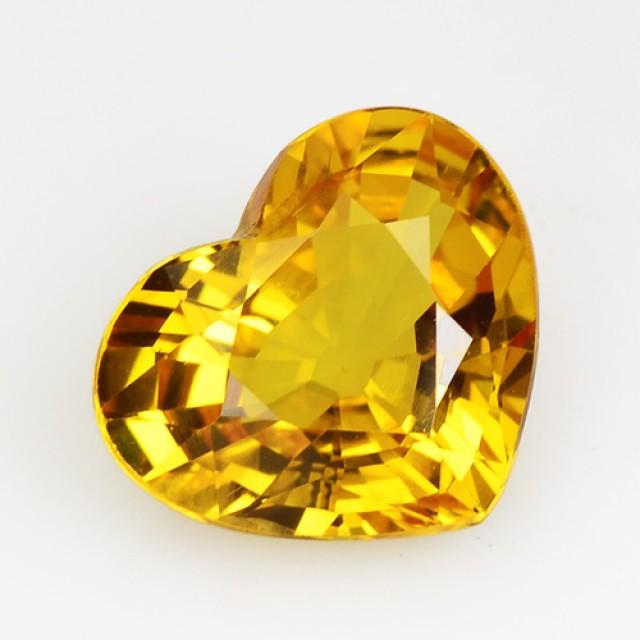 ~VVS~ 2.20 Cts Natural Corundum Sapphire Golden Yellow Heart Thailand