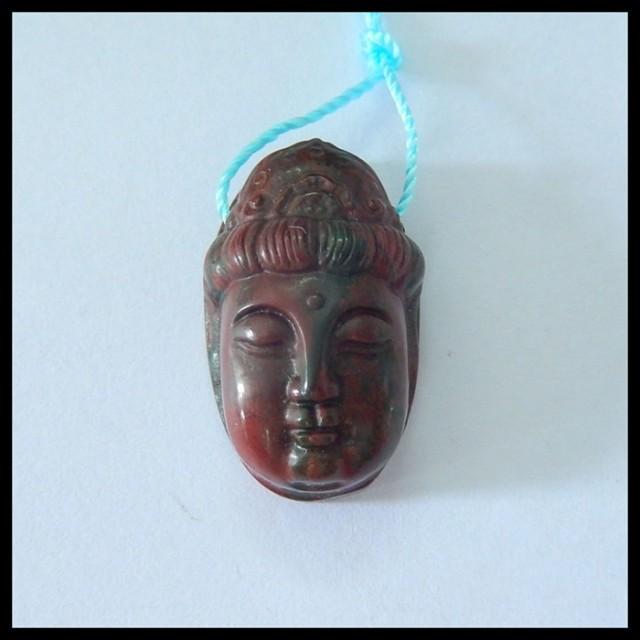 Natural Muti Color Picasso Jasper Carving Buddha Head Pendant,23x14x10mm,29