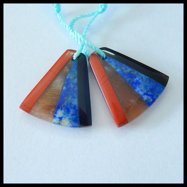 Natural Obsidian,Lapis Lazuli,Sunstone,Red River Jasper Intarsia Earrings,1