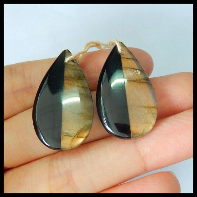 Natural Labradorite,Obsidian Intarsia Teardrop Earrings,29x16x4mm,32.5ct(17