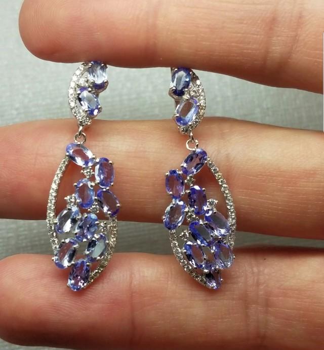 (B3) Brilliant 24.75tcw. Natural Tanzanite & CZ Earrings