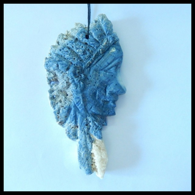 Natural Blue Coral Carving Indian Head Pendant,Handicraft Decoration,85x42x