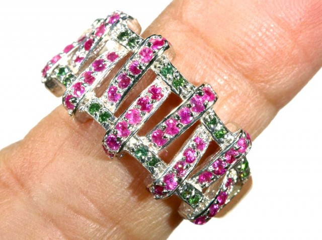 23.85 CTS PINK AND GREEN QUARTZ SILVER RING   SG-2446