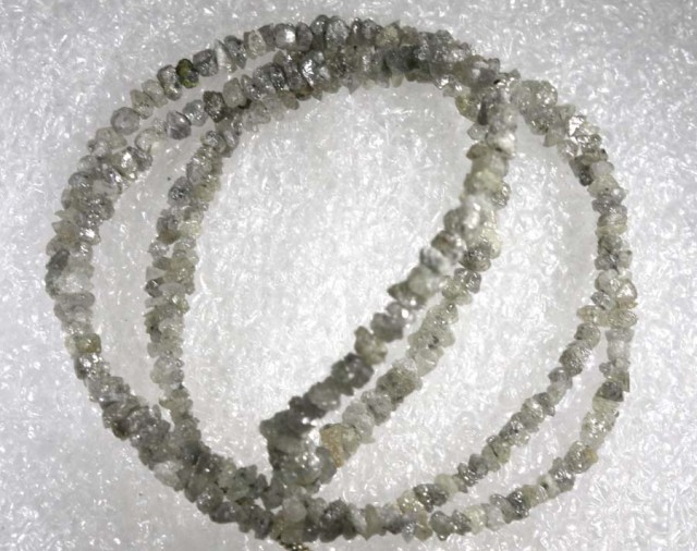 17CTS METALLIC SILVER GREY ROUGH DIAMOND STRAND SD-213