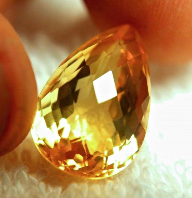 13.56 Carat Golden Brazil VVS1 Citrine - Gorgeous