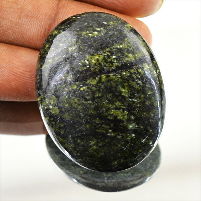 Genuine 59.55 Cts Oval Shape Forest Green Jasper Cab