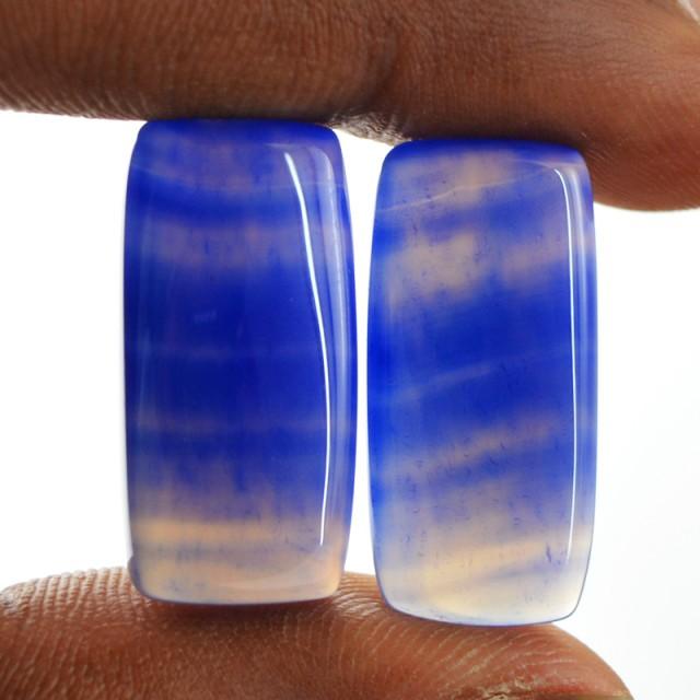 Genuine 18.80 Cts Blue Onyx Pair