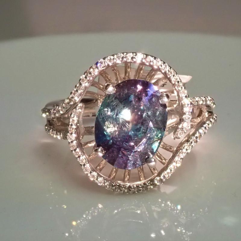 alexandrite ring with diamonds