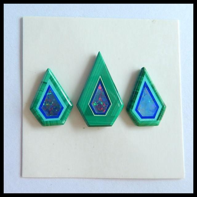 Sell 3pcs Natural Malachite,Opal Intarsia Cabochons,18x11x2mm,14x10x2mm,9ct