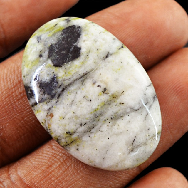 Genuine 34.00 Cts Forest Jasper Oval Shape Cab