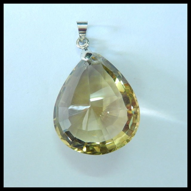 Natural Faceted Citrine With 925 Silver Charm Pendant For Women,27x23x15mm,