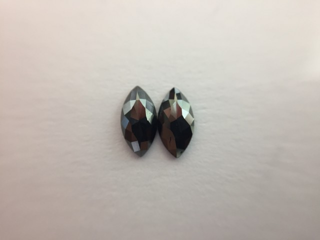 0.46 ct. Black Diamond Pair of Marquise shape one side polished.