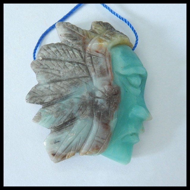 Natural Skyblue Amazonite Handcarved Indian Head Pendant Bead,51x42x12mm,18