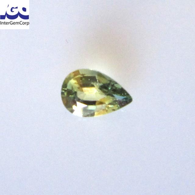 0.57cts Natural Australian Yellow Parti Sapphire Pear Shape