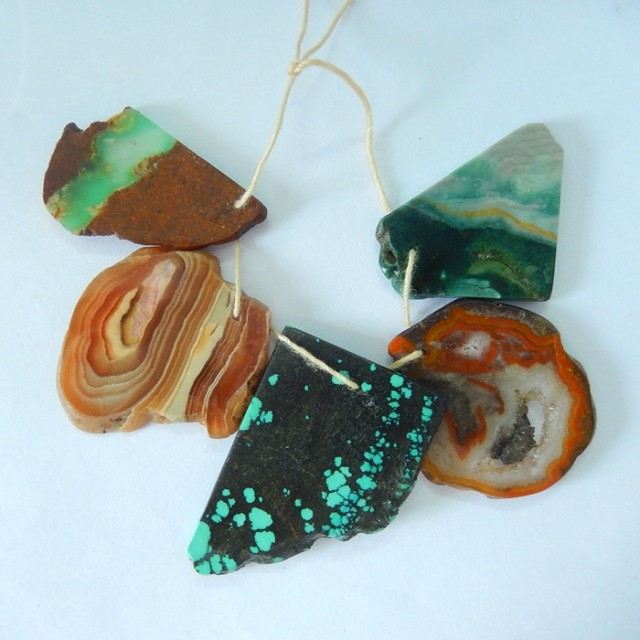 Sell 5pcs Natural Argentina Rhodochrosite ,Chrysoprase,Turquoise,Wave Jaspe