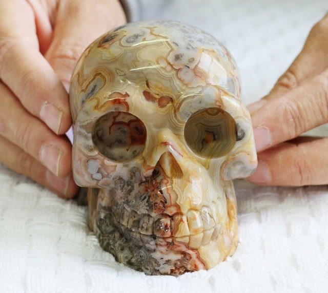 Large  Crazy agate Gemstone Skull  PPP 1333