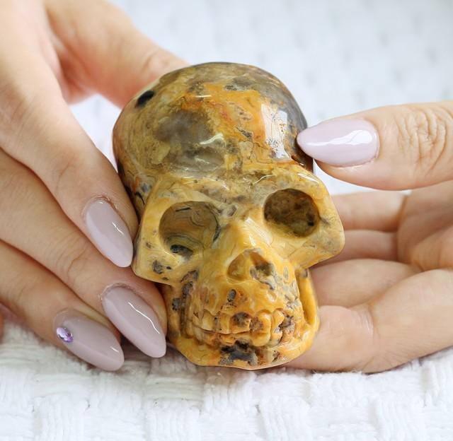 Cute Jasper Gemstone Skull  PPP 1345