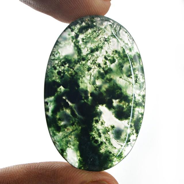 Genuine 32.50 Cts Oval Shape Moss Agate Cab