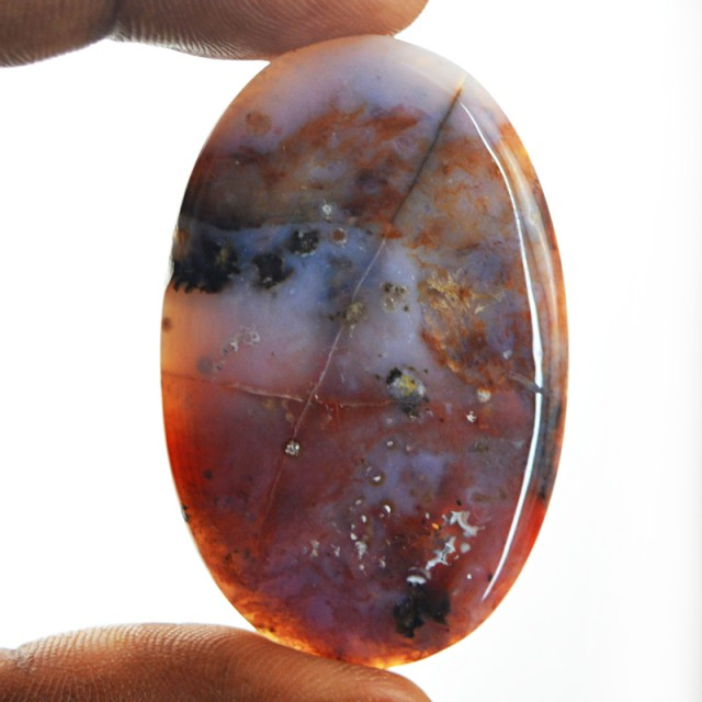 Genuine 55.00 Cts Red Moss Agate Oval Shape Cab