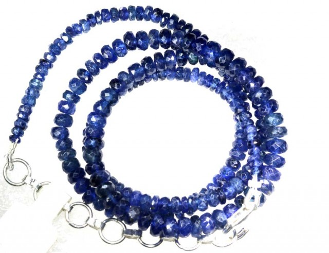 64CTS BLUE SAPPHIRE BEADS STRAND PG-2186