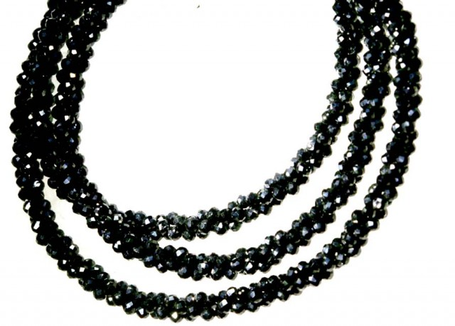 49.6CTS BLACK SPINEL BEADS STRAND PG-2194