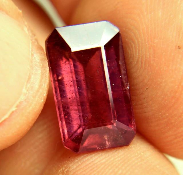 8.88 Carat Fiery Red Emerald Cut Ruby - Gorgeous