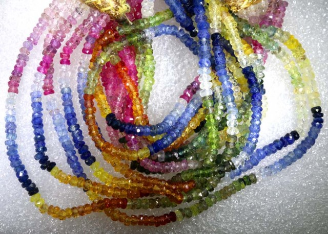 182CTS MULTI COLOR SAPPHIRE BEADS 5STRANDS PG-2218