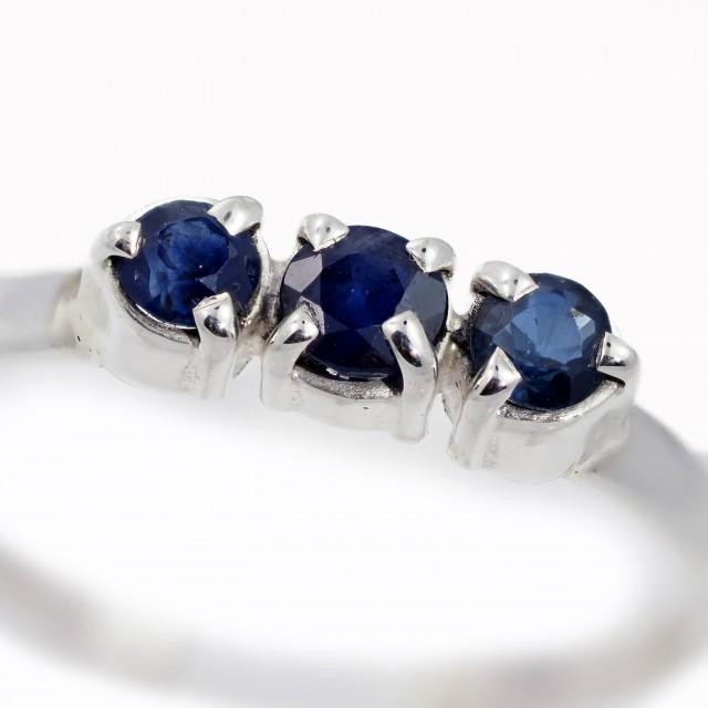 SIZE 9 BLUE AUSTRALIAN SAPPHIRES SET IN SILVER RING [SJ4511]