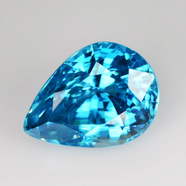~EXCELLENT~ 8.45 Cts Natural Sparkle Blue Zircon Pear Cambodia
