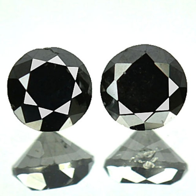 0.31 Cts Natural Black Diamond 2 Pcs Round Africa
