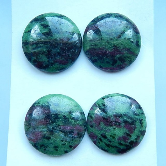 Sell 2pairs Natural Ruby And Zoisite Round Cabochon Pairs,Jewelry Accessory