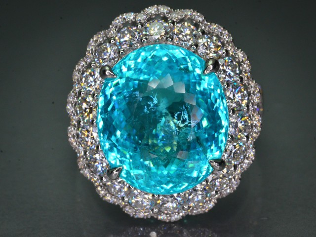 AIGS Cert 9.20 ct Paraiba Tourmaline 18K White Gold H color VVS