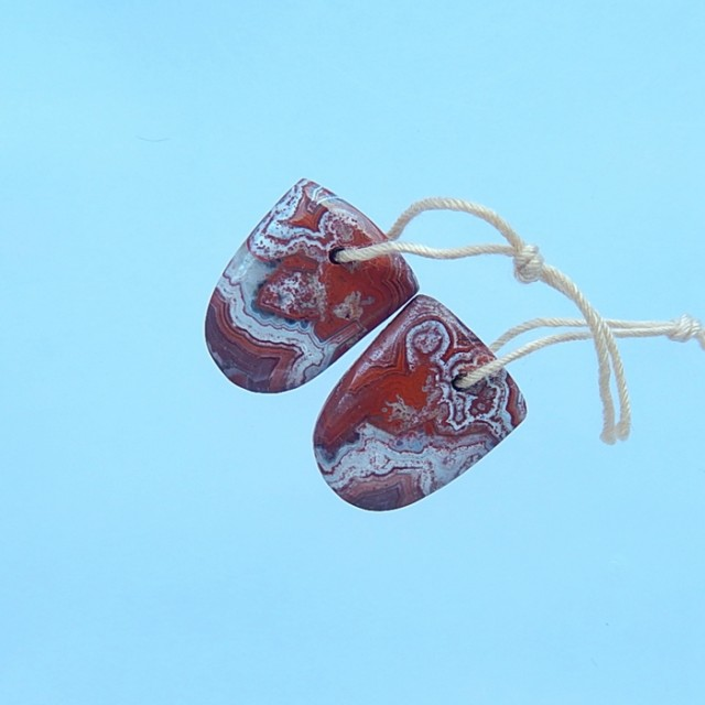 14.5 Natural Crazy Lace Agate Earring Pair(17071417)