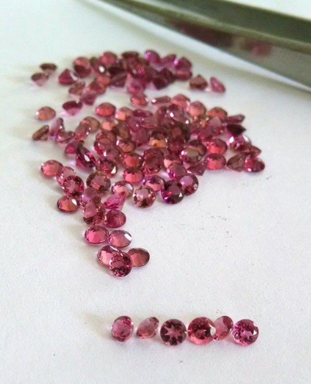 Certified pink tourmaline 3mm round faceted parcel 10 carats