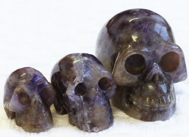 Cute Amethyst family Gemstone Skull  PPP 1352
