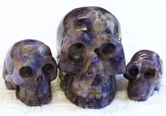 Cute Amethyst  family Gemstone Skull  PPP 1353