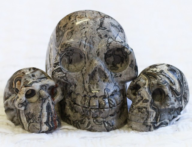 Cute Grey Crazy Agate family Gemstone Skull  PPP 1355